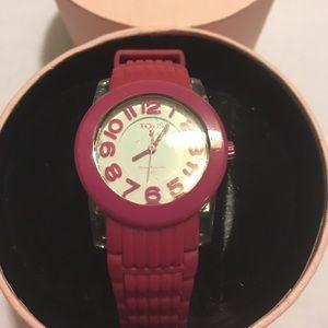 TOUS original hot pink rubber watch women